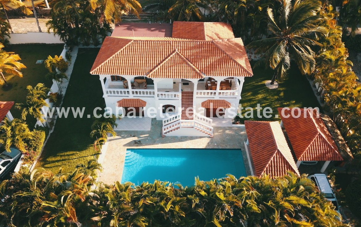beautiful aerial view caribbean style house with huge pool