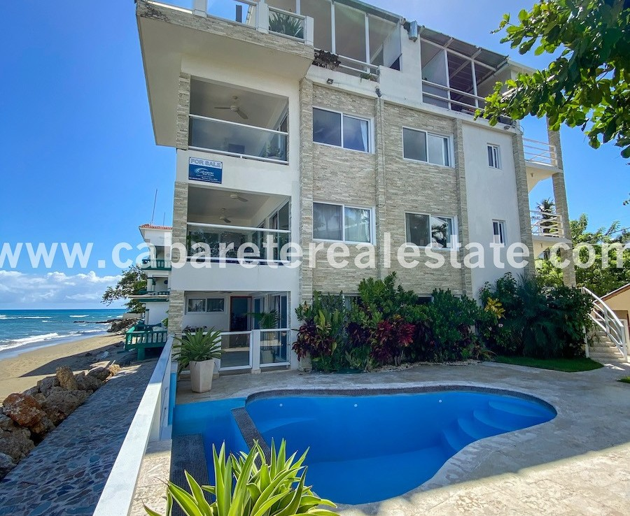 beautiful beachfront house in cabarete bay with amazing ocean view and great pool next to the beach