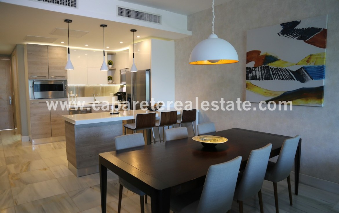 dining area and modern kitchen in beachfront apartment in cabarete