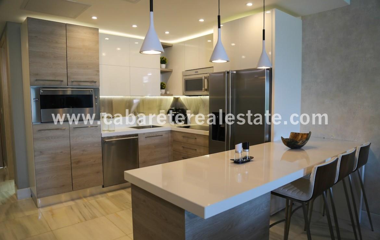 modern kitchen in beachfront apartment in cabarete