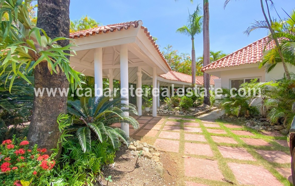 entrance of this luxury villa in the nicest gated community on the north coast for the dominican republic