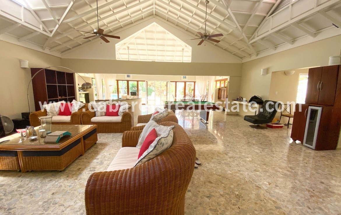 huge livingroom with pool table in the luxury villa between sosua and cabarete