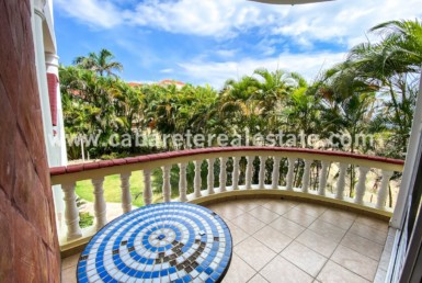 Balcony with tropical views beachside condo Cabarete Real Estate