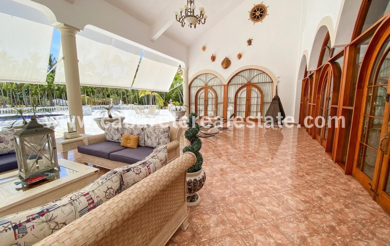 Covered terrace area in luxurious villa in gated community Cabarete Dominican Republic