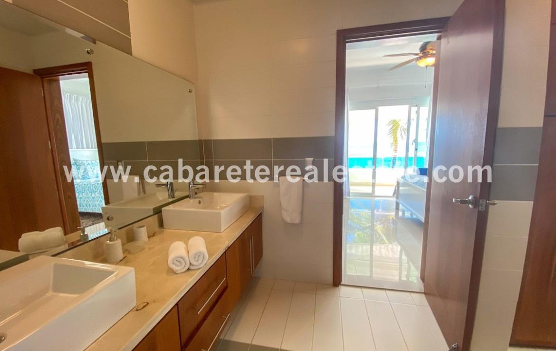 Double sink vanity in beachfront home Cabarete Bay Dominican Republic