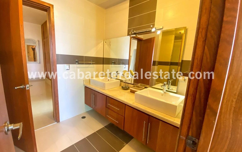 Double vanity in bathroom Beachfront condo Cabarete Real Estate Dominican Republic
