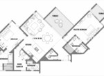 Floorplan two bedrooms beachfront condo Cabarete Real Estate