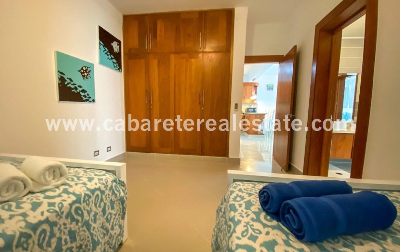 Guest bedroom in beachfront condo Cabarete Bay Dominican Republic