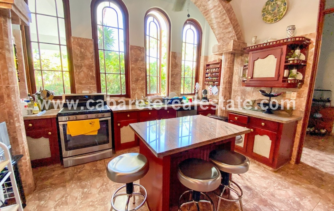 Kitchen in Luxurious villa steps from the ocean in 5 star gated community Dominican Republic