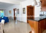 Living area and kitchen Beachfront two bedrooms condo in Cabarete Dominican Republic