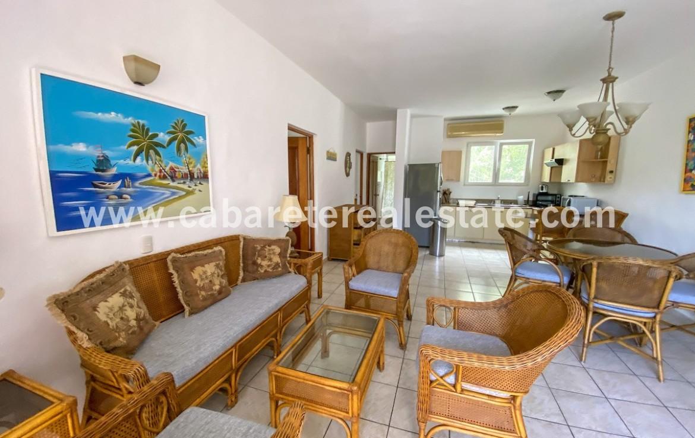 Living area two bedrooms beachside condo Cabarete