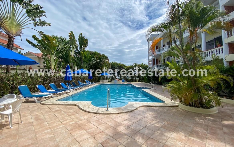 Pool area beachside condo Cabarete town Dominican Repbublic