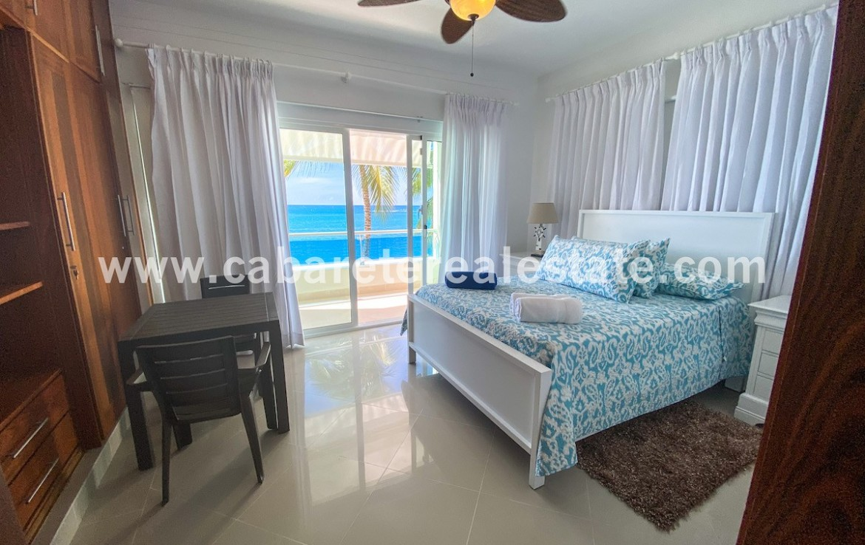 Spectacular master bedroom with ocean views in beachfront condo Cabarete Real Estate Dominican Republic