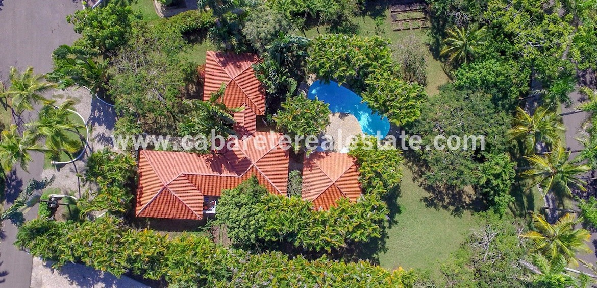 aerial pool and garden view of this stunning villa in the best luxury gated community between sosua and cabarete