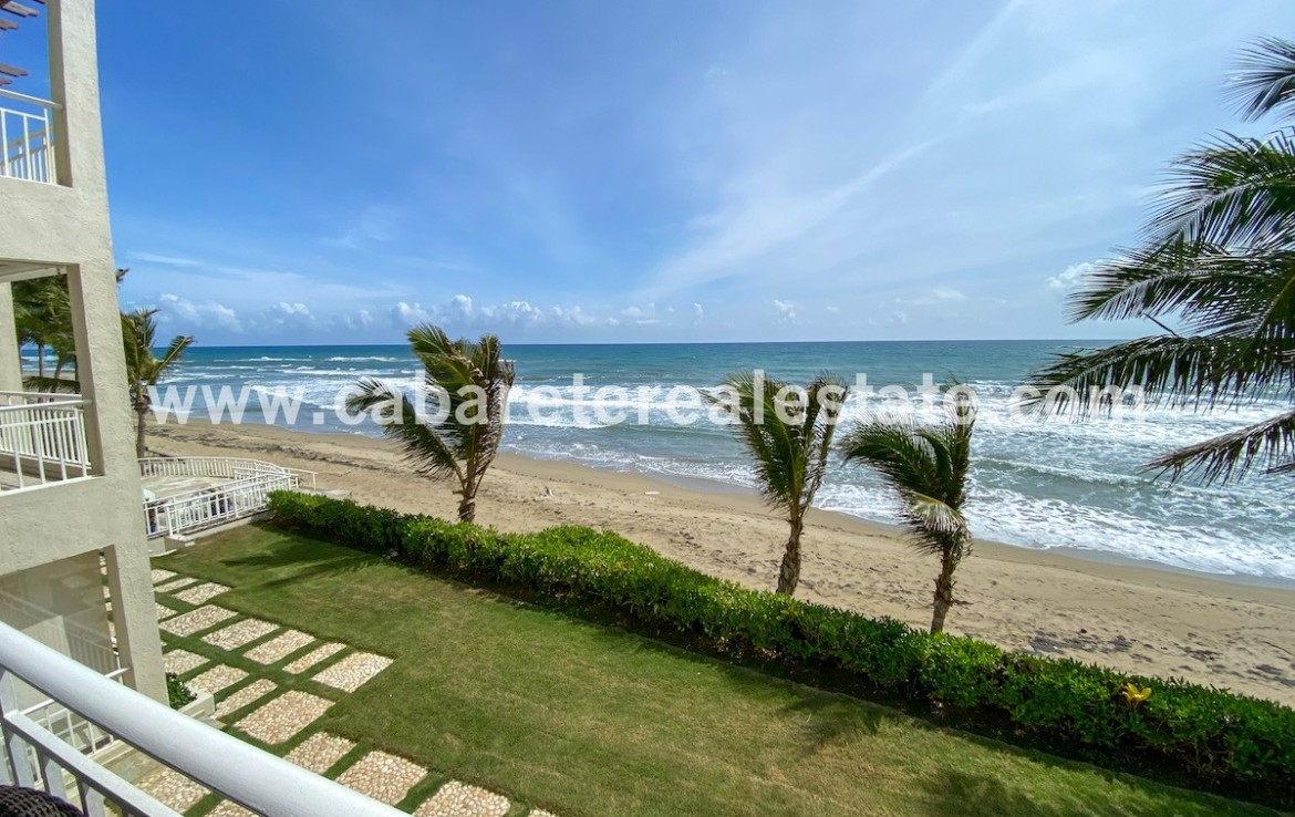 amazing view from the spacious terrace with amazing ocean view in this luxury apartment in cabarete east