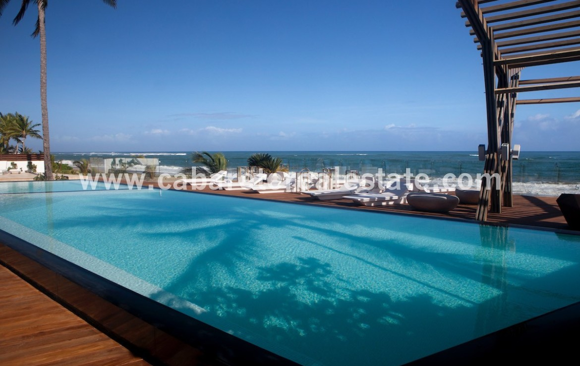 beachside pool with ocean views from your apartment on Cabarete Bay Dominican Republic luxury