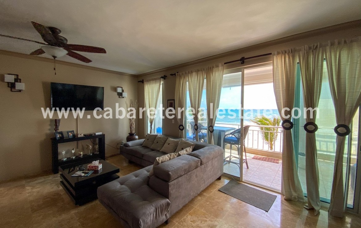 stylish livingroom with amazing beach and ocean view in this luxury apartment in cabarete east