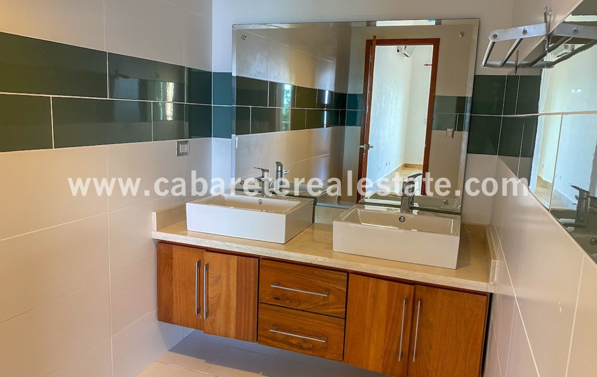 Double sink vanity in luxurious beachfront apartment Cabarete Dominican Republic has it all