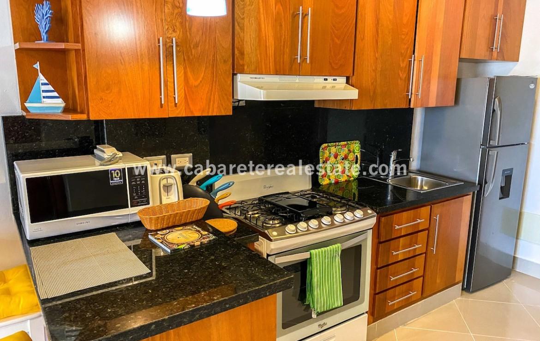 Equipped kitchen in studio apartment Cabarete Dominican Republic