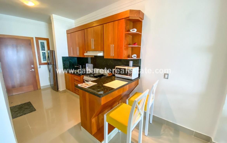Kitchen in beachfront studio Cabarete Real Esate