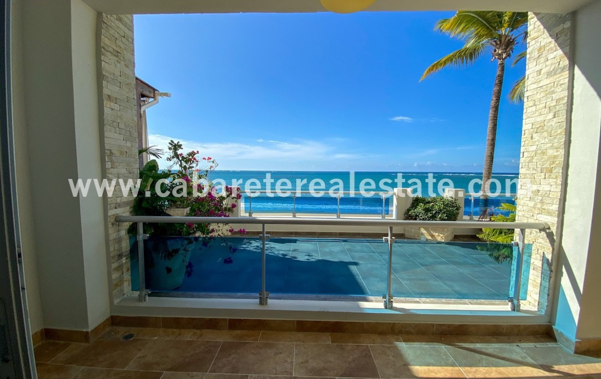 Spectacular ocean views from the guest bedroom in apartment on the beach Cabarete Dominican Republic