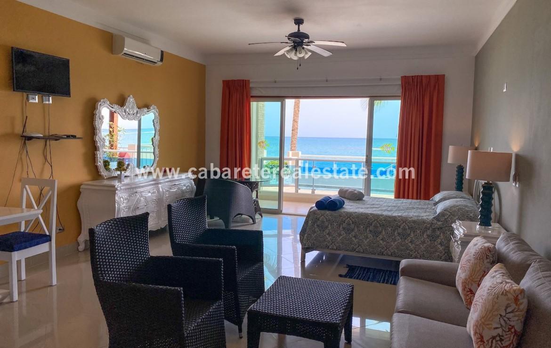 living area in beachfront apartment Cabarete Dominican Republic