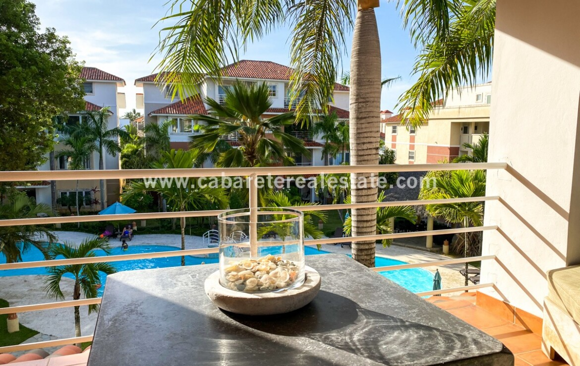 Balcony in two bedrooms condo Cabarete town Dominican Republic