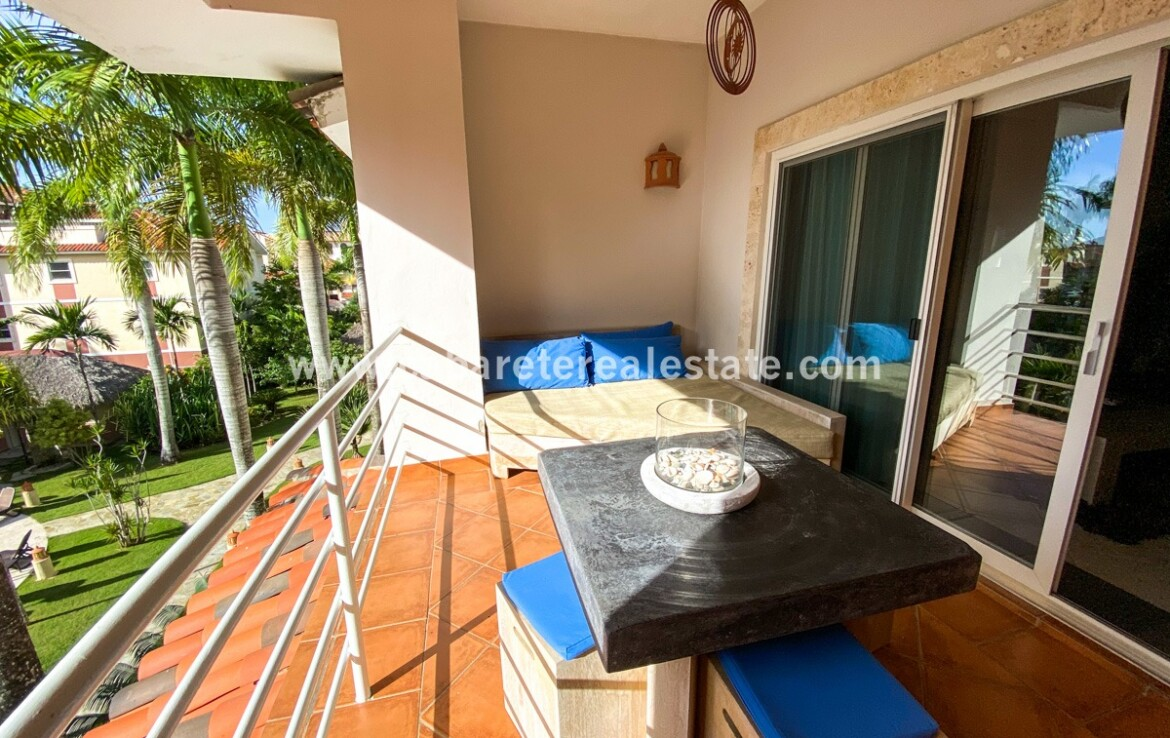 Balcony with poolview in beachside gated community Cabarete Kitebeach