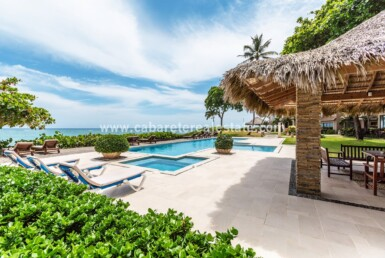 Pool and Gazebo Beachfront apartment Kitebeach Cabarete Dominican Republic