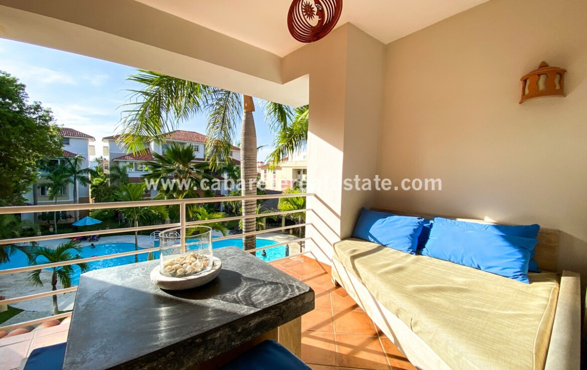 Pool and tropical view from balcony in two bedrooms condo Cabarete Dominican Republic Cabarete Real Estate