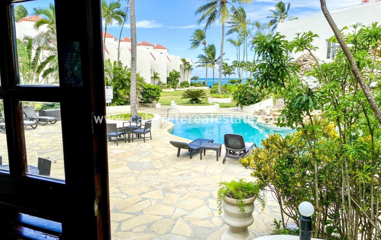 Front door pool views beach home Cabarete Real Estate
