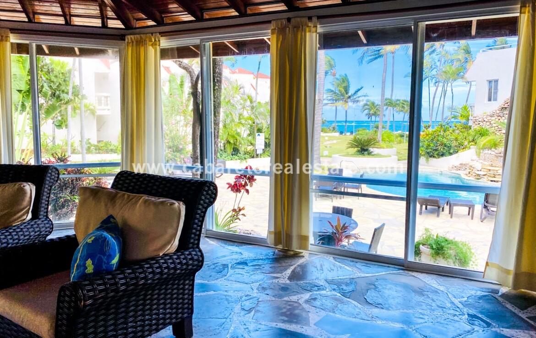 Living are with ocean views in Beach front villa Cabarete Dominican Republic Real Estate