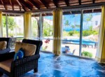 Living are with ocean views in Beach front villa Cabarete Dominican Republic Real Estate