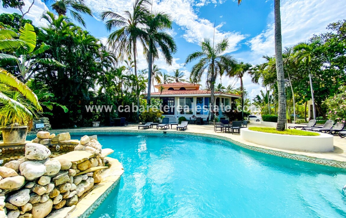 Pool beside your beach front home in Cabarete Bay Cabarete Real Estate Dominican Republic