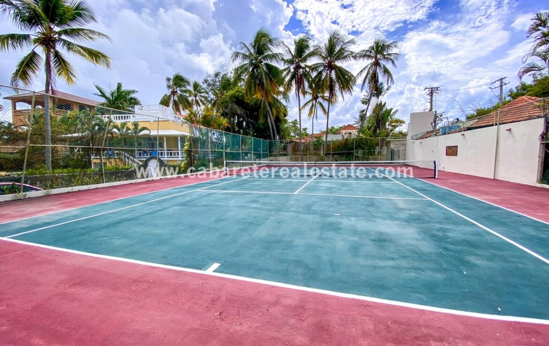Tennis court in beach front dream home Cabarete Real Estate Dominican Republic