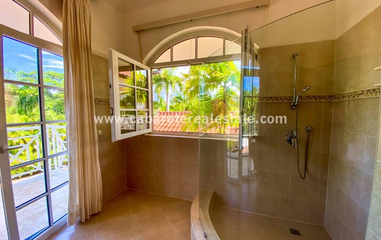 bath ensuite shower walk in tile tiled windows bath tub bathroom toilet ocean luxurious cabarete real estate Dominican republic