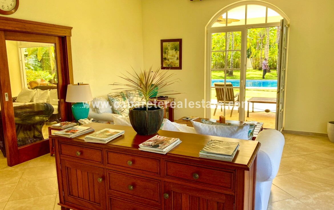 living room grand entertaining furnished view views pool office cabarete real estate oceanfront