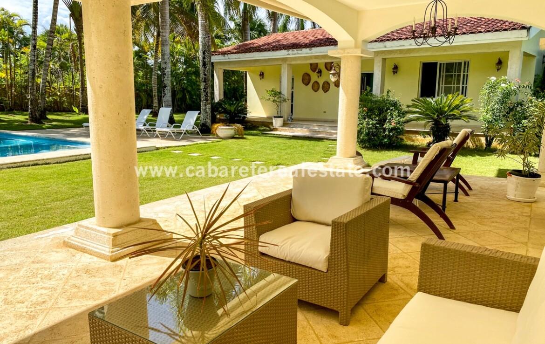 outdoor patio veranda terrace furnished furniture pool garden lawn cabarete real estate dominican republic