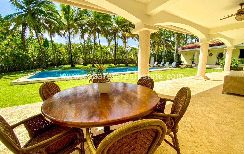 veranda terrace patio fan dining furniture furnished pool poolside ocean lawn landscape cabarete dominican republic tiled