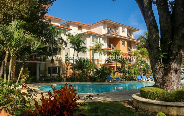outside ground hoa maintenance lush green palms ocean view walk swim cabarete dominican republic