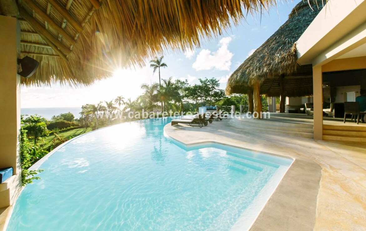 pool infinity palapa seating outdoors jungle view ocean cabrera dominican republic 1
