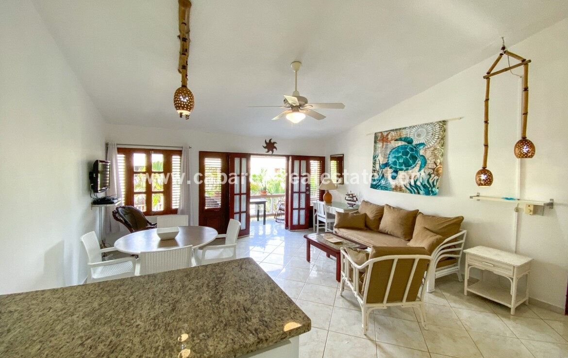 kitchen island dining family East Cabarete Beachfront Apartment