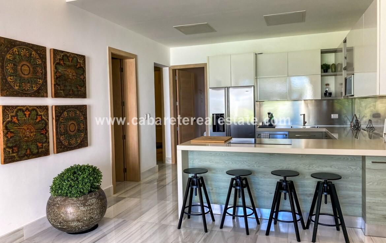 kitchen modern living bar island family dominican republic cabarete oceanfront luxury aparthotel