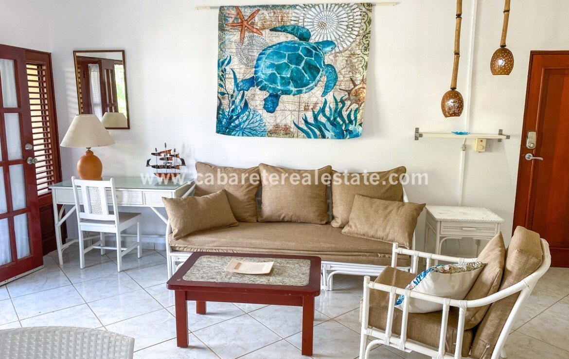 living room seating furnished East Cabarete Beachfront Apartment