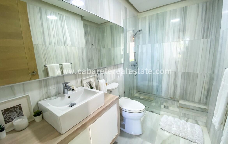 master bathrook bath shower modern storage cabarete oceanfront luxury aparthotel