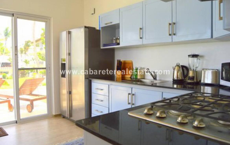 kitchen fridge patio balcony comfortable contemporary Cabarete condo