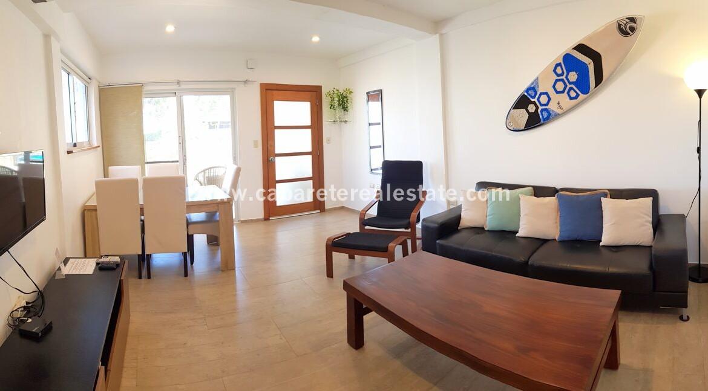 living kitchen dining tv home condo beach view pool comfortable contemporary Cabarete condo