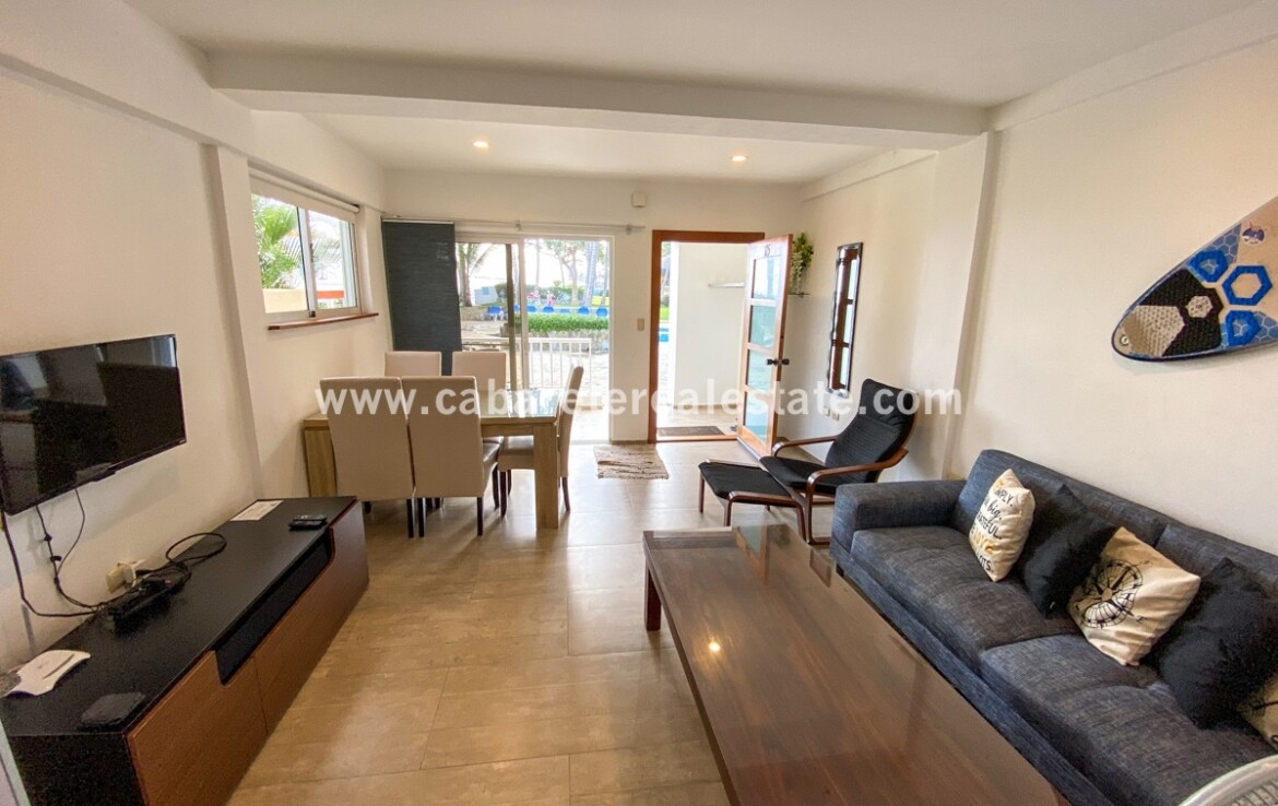 modern small large living dining kitchen view pool comfortable contemporary Cabarete condo